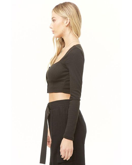 cf14052a65be0 ... Forever 21 - Black Button-front Crop Top - Lyst