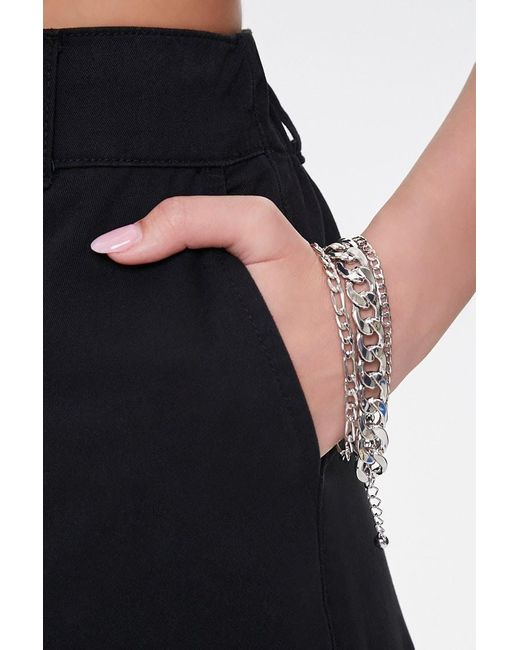 Forever 21 Metallic Curb Chain Bracelet Set