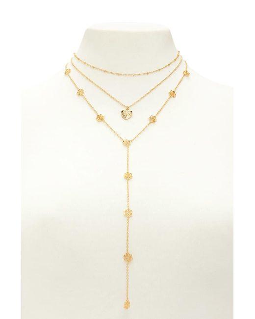 Forever 21 - Metallic Drop Chain Pendant Necklace Set - Lyst