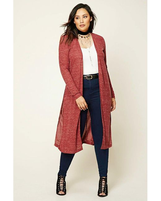 Forever 21   Red Plus Size Marled Knit Cardigan   Lyst