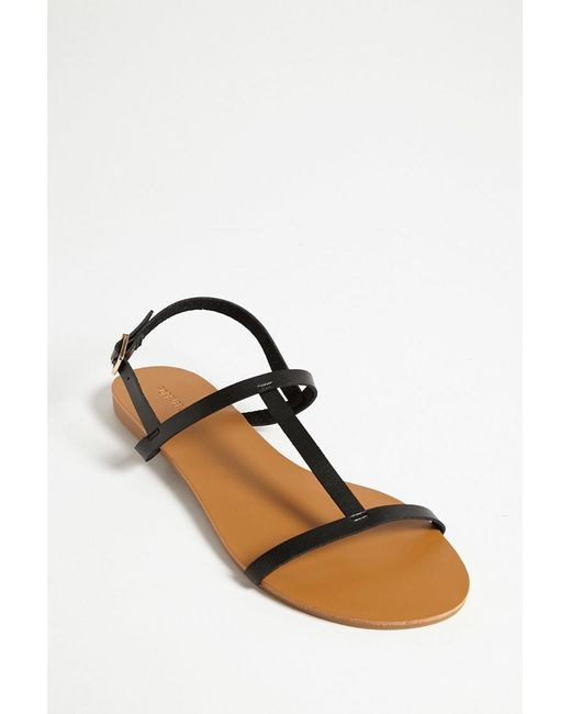 1eb6e2121e4 Forever 21 - Black Faux Leather T-strap Sandals - Lyst ...