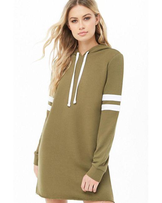 Forever 21 - Green Women's Varsity Hooded Sweatshirt Dress - Lyst
