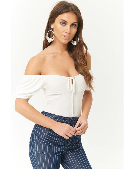 618cac08990a8 Forever 21 - White Off-the-shoulder Tie-front Top - Lyst ...