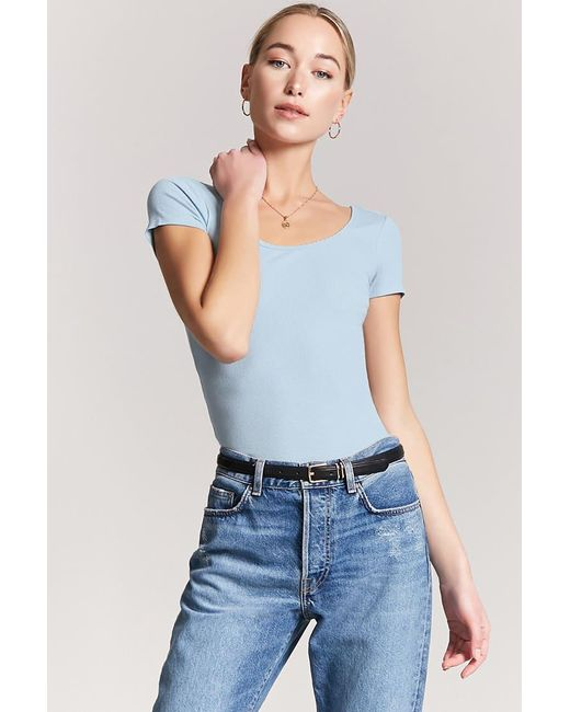 Lyst Forever 21 Ribbed Knit Top In Blue