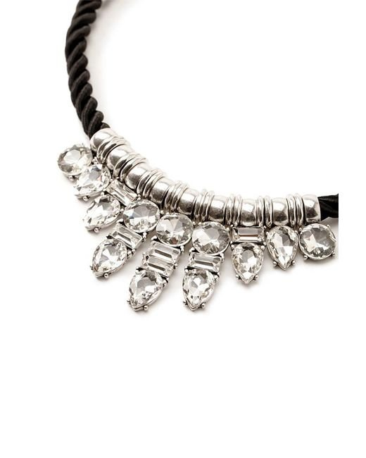 Forever 21 | Black Twisted Cord Rhinestone Statement Necklace | Lyst