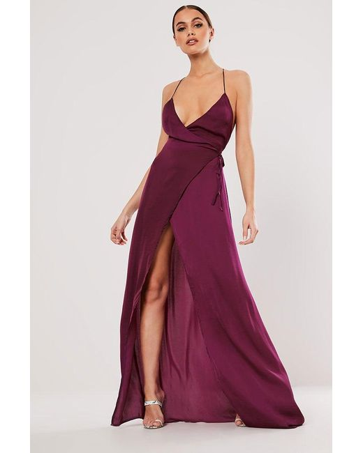 Missguided - Purple Maxi Wrap Dress At - Lyst