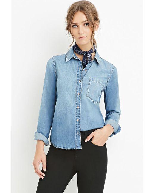 Forever 21   Blue Classic Denim Shirt   Lyst