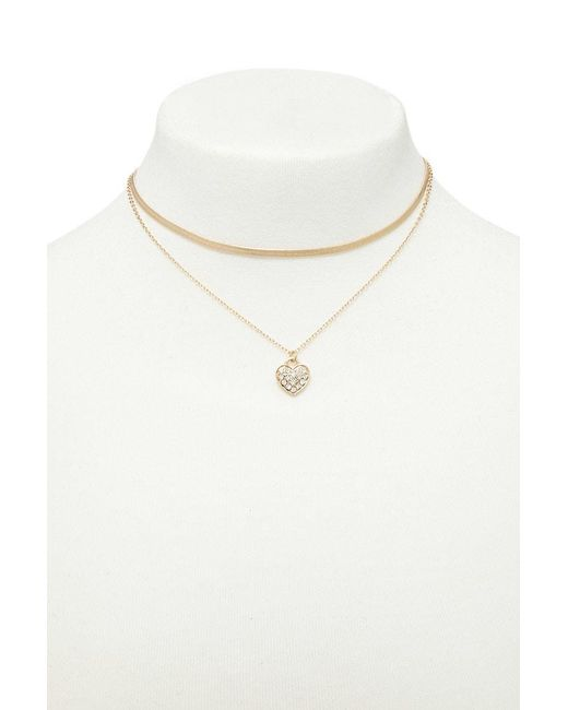 Forever 21 | Metallic Heart Charm Necklace Set | Lyst