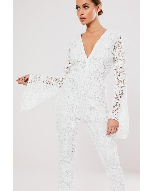 Missguided - White Crochet Lace Jumpsuit At - Lyst
