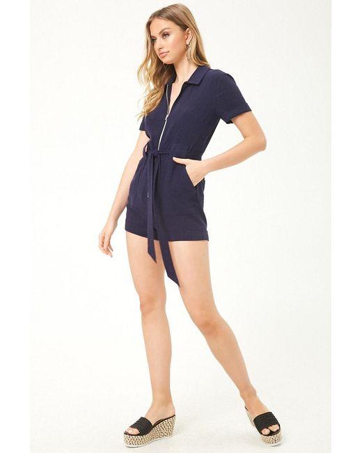 1a430a32f0 ... Forever 21 - Blue Women s Linen-blend Zip-front Playsuit - Lyst