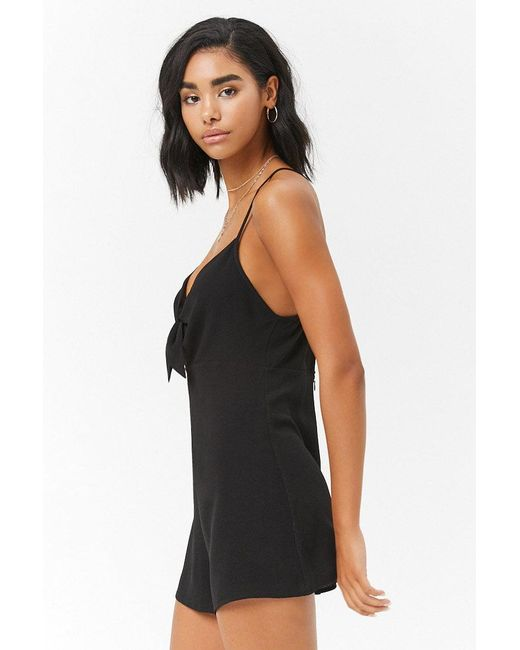 ae35afcf856 ... Forever 21 - Black Tie-front Romper - Lyst