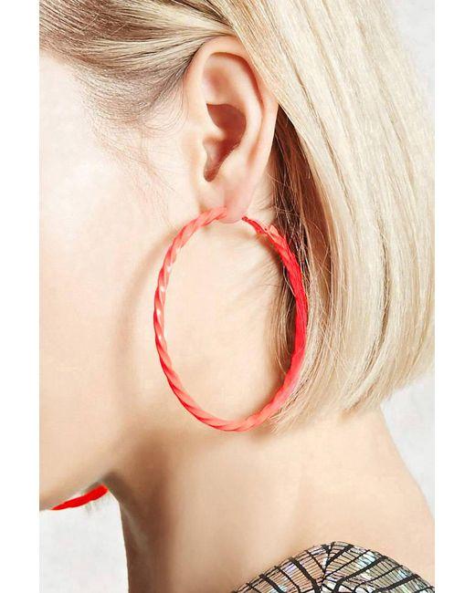 Forever 21 - Orange Twisted Neon Hoop Earrings - Lyst