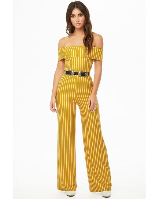 Forever 21 Striped Off The Shoulder Jumpsuit In Yellow Lyst