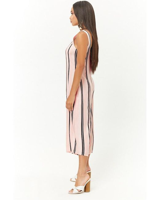 87a4d5d7db5 Forever 21 Women s Striped Culotte Jumpsuit in Pink - Lyst