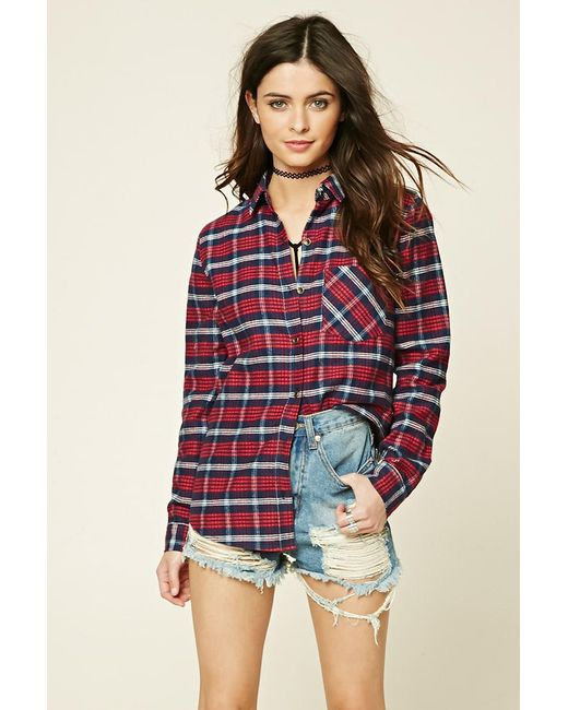 Forever 21 - Red Tartan Check Flannel Shirt - Lyst