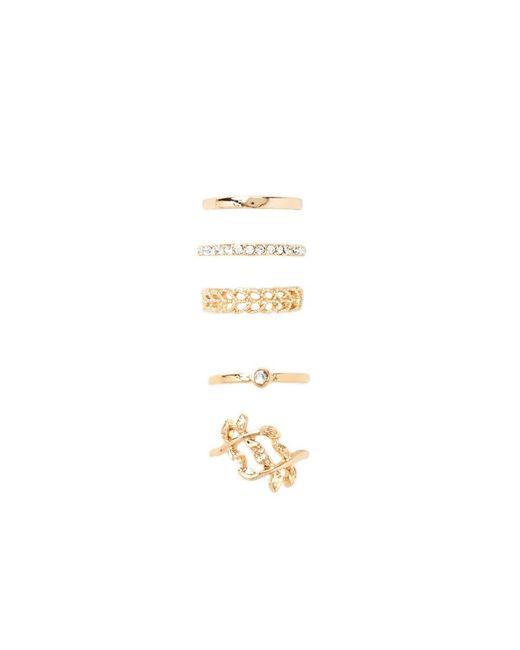 Forever 21 | Metallic Rhinestone Leaf Midi Ring Set | Lyst