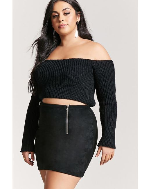 Forever 21 | Black Plus Size Faux Suede Mini Skirt | Lyst