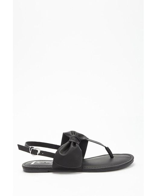 6b7214b0babefe Forever 21 - Black Bow Thong Sandals - Lyst ...