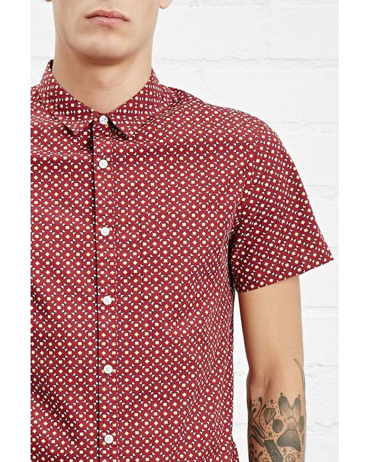 Forever 21 | Red Abstract Print Slim Fit Shirt for Men | Lyst