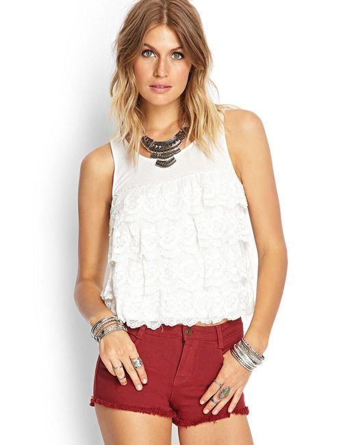 Forever 21 - Natural Tiered Knit Tank - Lyst