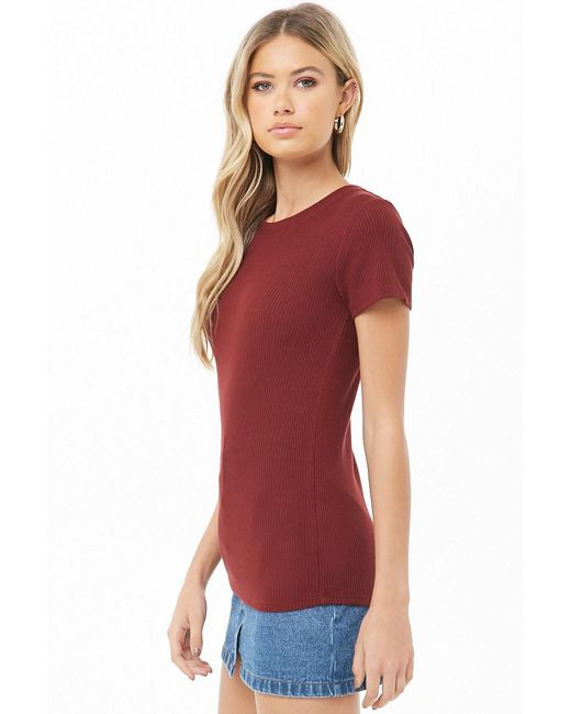 e31416bed2d4c ... Forever 21 - Red Ribbed Knit Top - Lyst