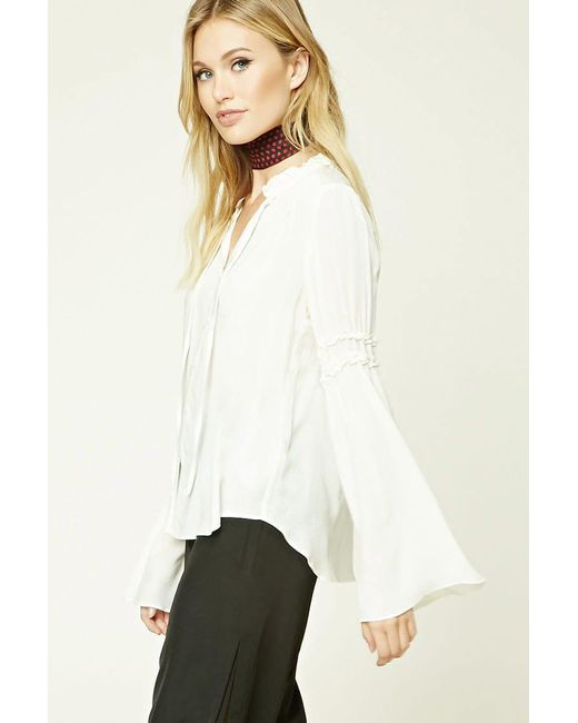 Forever 21 | White Contemporary Trumpet Sleeve Top | Lyst