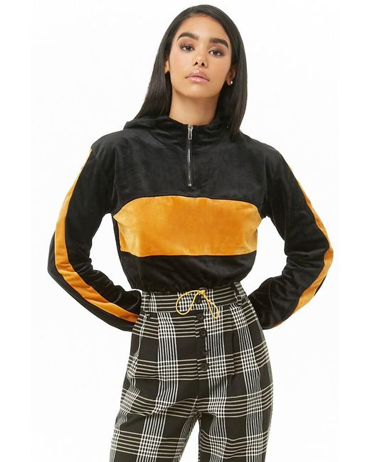 507192480c Forever 21 - Black Hooded Velour Colorblock Cropped Sweater - Lyst ...