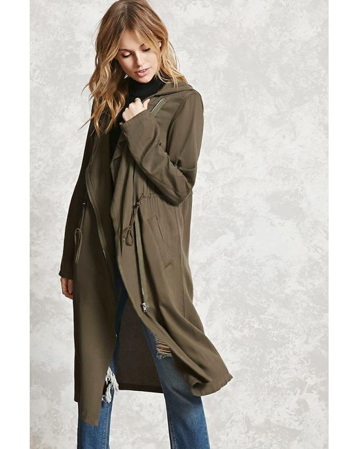 Forever 21 | Green Contemporary Hooded Coat | Lyst