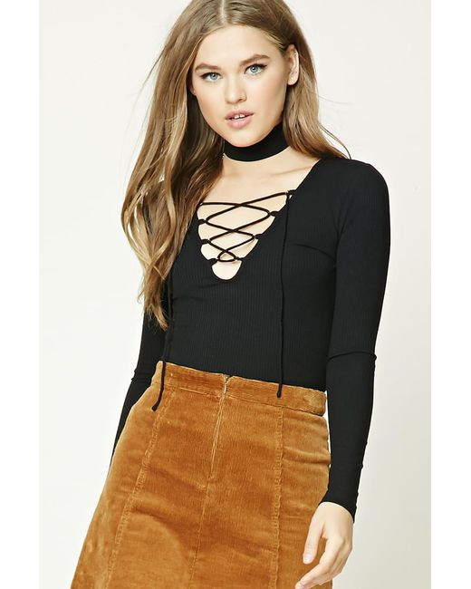 Forever 21 - Black Ribbed Knit Lace-up Top - Lyst