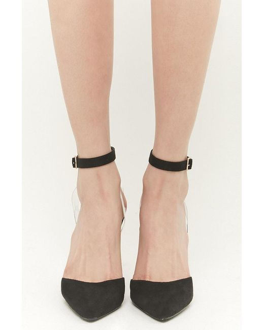 b2ef9796516f ... Forever 21 - Black Faux Suede Pointed-toe Ankle-wrap Heels - Lyst