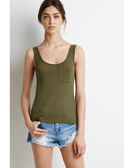 Forever 21 | Green Classic Pocket Tank | Lyst