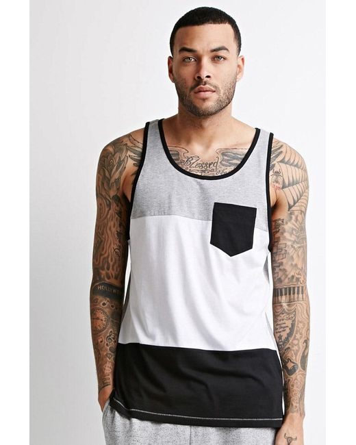Forever 21 - Gray Heathered Colorblock Pocket Tank for Men - Lyst