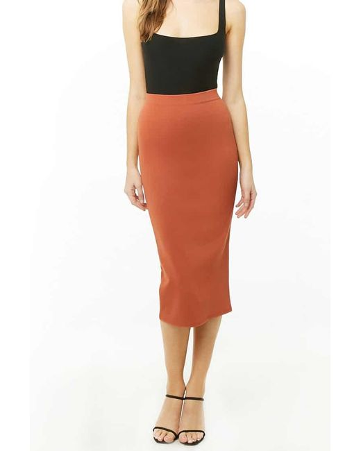 Forever 21 Orange Women's Bodycon Midi Skirt