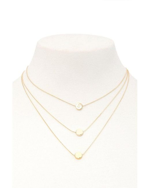 Forever 21 | Metallic Layered Disc Charm Necklace | Lyst