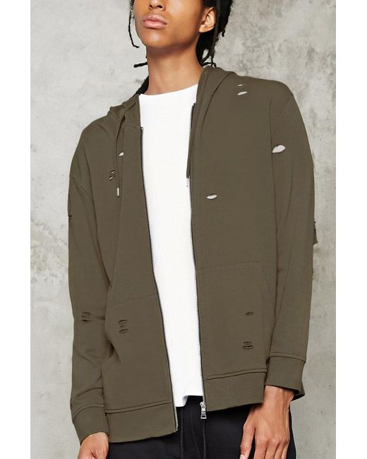 Forever 21 | Green Distressed Zip-up Hoodie for Men | Lyst