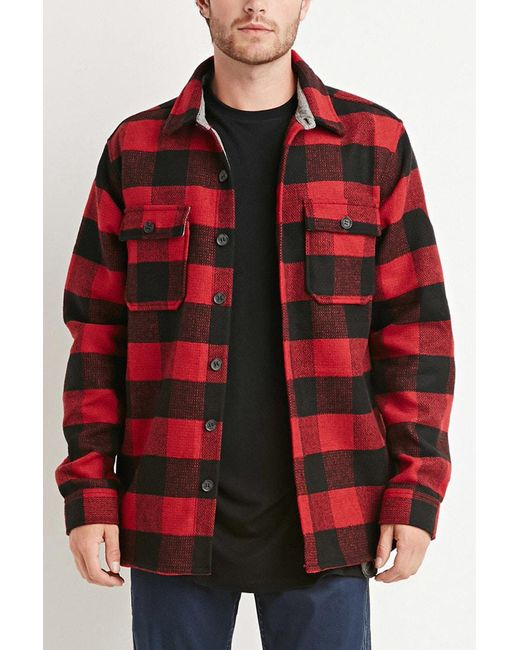 Forever 21 | Red Buttoned Plaid Jacket for Men | Lyst