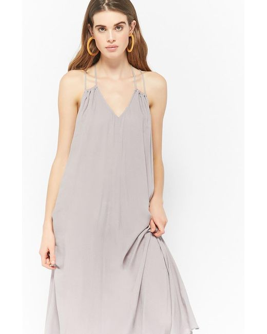 Forever 21 - Gray Strappy Maxi Dress - Lyst