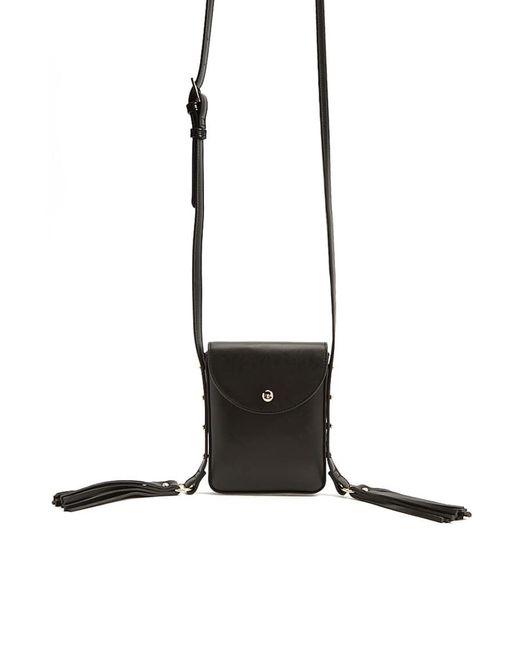 Forever 21 Tassled-strap Faux Leather Crossbody , Black