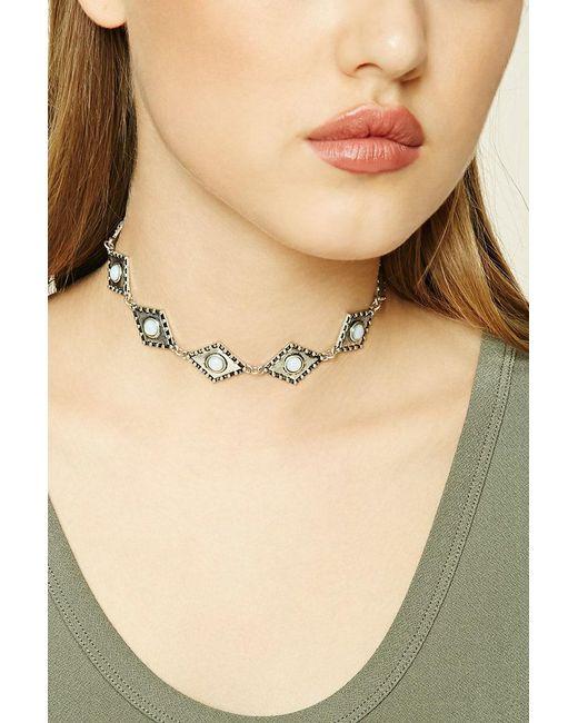Forever 21 | Metallic Faux Stone Diamond Choker | Lyst