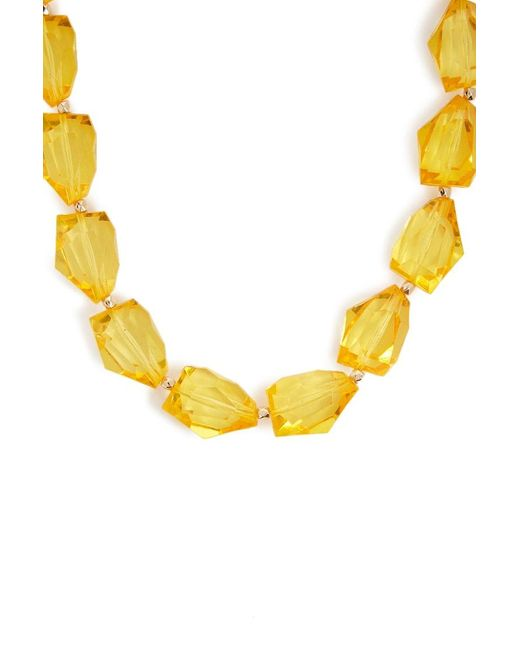 Forever 21 Faux Gem Statement Necklace , Yellow