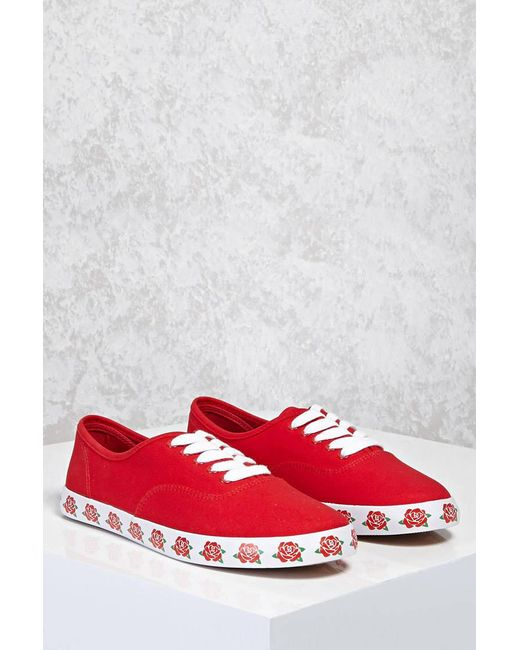 Forever 21 | Red Rose Printed Sole Sneakers | Lyst