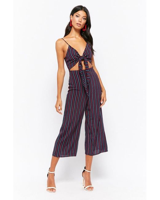 c120b2cfa52 Forever 21 - Blue Striped Tie-front Culotte Jumpsuit - Lyst ...