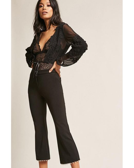 Forever 21 - Black Cropped Flare Trousers - Lyst