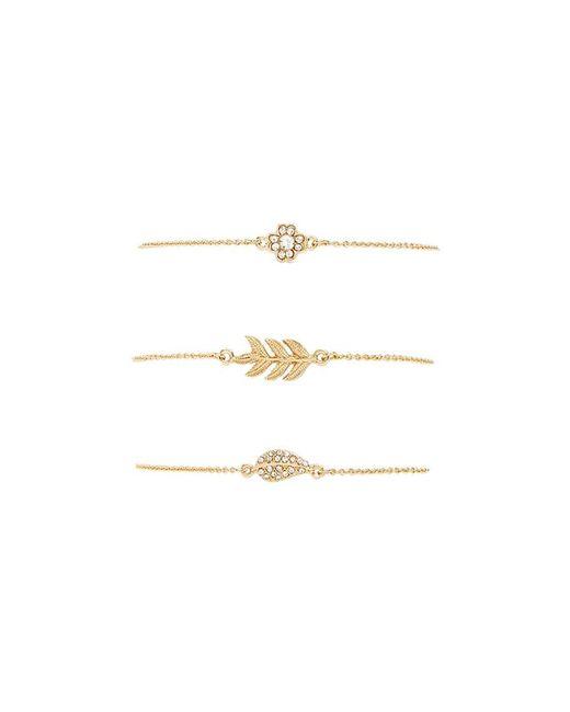 Forever 21 - Metallic Leaf Charm Bracelet Set - Lyst