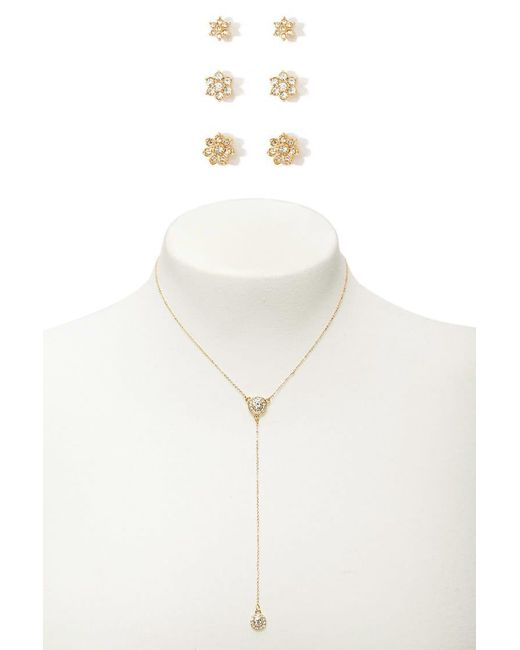 Forever 21 - Metallic Flower Studs & Drop Chain Necklace Set - Lyst