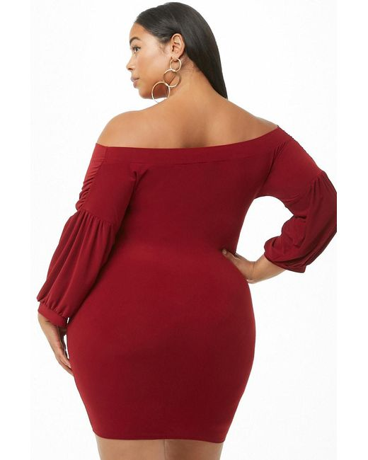 eacc783992b3 ... Forever 21 - Red Women's Plus Size Off-the-shoulder Mini Dress ...
