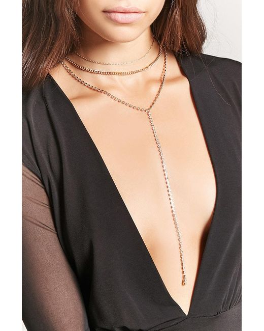 Forever 21 | Metallic Drop Chain Necklace Set | Lyst