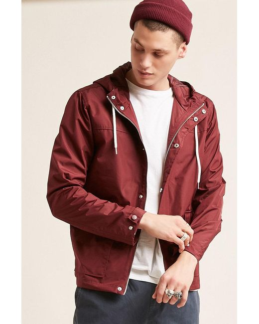 forever red s funnel neck windbreaker jacket for men