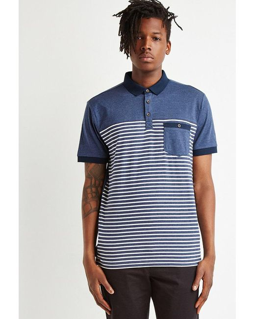 Forever 21 | Blue Striped Colorblock Polo for Men | Lyst