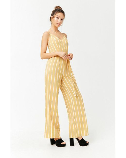 356db102c3c4 Forever 21 - Yellow Striped Cami Jumpsuit - Lyst ...